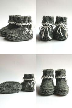 Neue Schuhe für neue Erdenbürgerinnen. In grau mit Blümchen und Zackenborte. NETTE auf @palundu Hot Pink Fashion, New Shoes, Metal Art, Handmade, Handarbeit, Gray