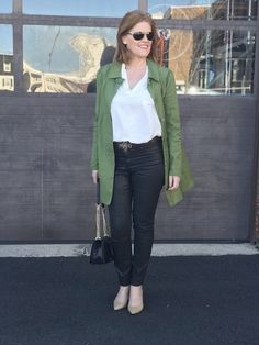 Shop the Look from BonChicStyle on ShopStyleImpatiently waiting for spring to come in my green trench coat! Fashion Wear, Fashion Looks, Hue Leggings, Green Trench Coat, French Chic, Faux Leather Leggings, Latest Trends, Calvin Klein, Green Leather