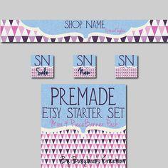 Etsy Shop Banner Pack: Mini 4 Piece Starter Set- Mod Triangles in Pink, Purple, Blue $6.95 #buyhandmade