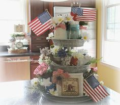 Priscillas: Patriotic Galvanized Tiered Tray