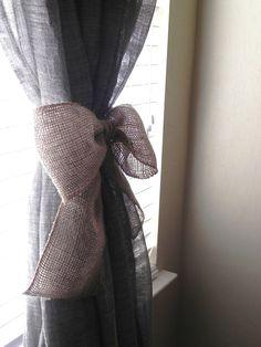 Burlap Bow SET OF 2 Curtain Tie Back Wedding Decoration Wreath Decoration. $16.50, via Etsy.