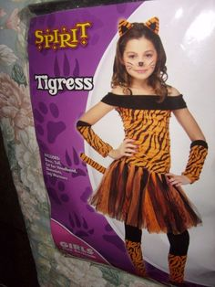 girls 7pc tigress tiger tutu halloween costume girls size med 8 10 new spirit - Tigress Halloween Costume