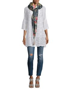 Isabelle+Eyelet+Tunic,+Tropical+Floral-Print+Silk+Scarf+&+Scoop-Neck+Knit+Tank+by+Johnny+Was+Collection+at+Neiman+Marcus.