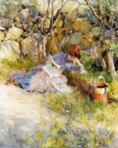 Garden in Painting Lady Reading a Newspaper by Carl Larsson 1886