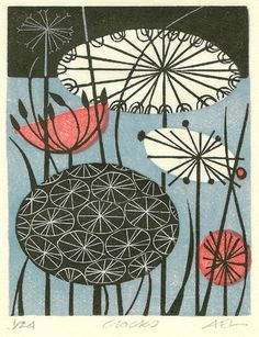 Angie Lewin is a lino print artist, wood engraver, screen printer and painter depicting the UK's natural flora in linocut and other limited edition prints. Print Making, Drawings, Linocut, Linocut Prints, Screen Printing, Illustration Art, Art, Abstract, Prints