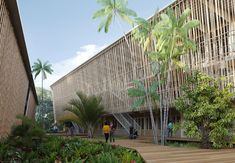 The Lycée Tani Malandi on the small island of Mayotte presents us with special challenges. Building a school in Mayotte means dealing with various pedagogical, socio-economic and ecological questions. Clay, wood, bamboo, basalt – these omnipresent natural materials emphasise the close relationship between the school and its surroundings, between nature and architecture. #urban #planning #social #stustainability #green #materials #timber #construction #cpmpetition #winner Green Materials, Natural Materials, Small Island, Urban Planning, Outdoor Furniture, Outdoor Decor, Ecology, Bamboo, Challenges