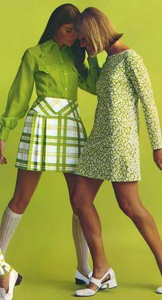 Plaid, Skirt, Sweater, Dress, Vintage, Fashion, Models, Advertisement, 70s, Lime