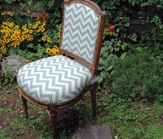 French Chevron  Vintage Side Chair