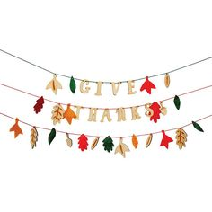 A beautiful garland for a Thanksgiving celebration with a Give Thanks greeting and fall leaves pennants crafted in felt and wood. > Pack contains 1 garland. > Garland length: 6 feet > Designed in Engl