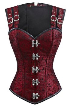 【$ 13.00】12 Steel Bone Double Buckle Straps Lace Up Corset Burgundy