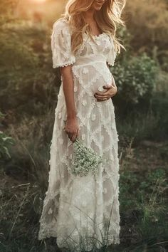 Maternity Casual Solid Color Lace Panel Short Sleeve Dress Product number brand name Acmami gender Female occasion Leisure,Holiday season summer Fabric Polyester Pattern type … Maxi Dress With Sleeves, Lace Dress, Short Sleeve Dresses, Tulle Gown, Casual Maternity, Maternity Fashion, Boho Maternity Dress, Maternity Dresses For Photoshoot, Maternity Wedding Dresses