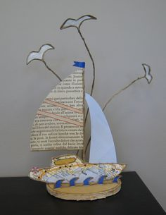Boat Crafts, Diy And Crafts, Wire Art, Twine, Paper Art, Basket, Place Card Holders, Dolls, Wood