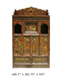 Vintage Tibetan Dragons Buddha Offer Temple Cabinet - Golden Lotus Antiques