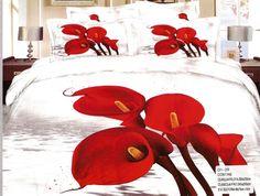 AlyShop: Lenjerie pentru pat dublu din bumbac satinat alb cu cale rosii