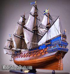 """1627 Swedish Wasa (Vasa) 45"""", High Detail, Mahogany Fully Assembled with cloth sails."""