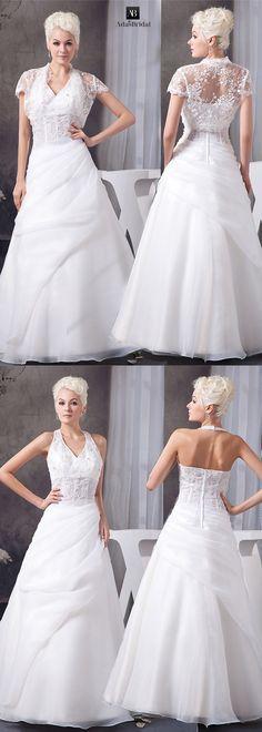 Marvelous organza satin v-neck neckline a-line wedding dresses with detachable jacket. Dress in two different ways. (WWD67959) - Adasbridal.com