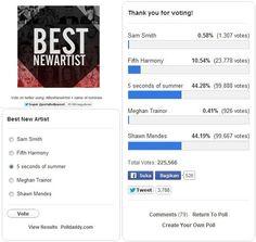 keep voting guys #BestNewArtist 5 seconds of summer