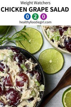 Chicken Salad With Grapes, Grape Salad, Chicken Salad Recipes, Healthy Salad Recipes, Ww Recipes, Healthy Chicken, Dinner Recipes, Weight Watchers Chicken, Weight Watchers Meals