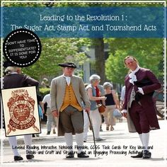Introduce the events that lead to the American Revolution with interactive notebooks and flippables! This activity focuses on the three acts, Sugar Act, Stamp Act, and Townshend Acts with a specific focus on the colonial response. Included you will find:Suggested LessonsLeveled Reading DescriptionAnnotation HandoutThe Sugar Act, Stamp Act,and Townshend Acts Reading - Higher Level The Sugar Act, Stamp Act,and Townshend Acts Reading - Lower Level Common Core Task CardsInteractive Notebook…