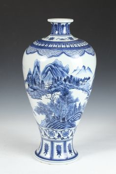 CHINESE BLUE AND WHITE PORCELAIN MEIPING, Yongzheng mark, 20th Century. - 1