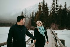 Peter & Amanda | Pyramid Lake Engagement Session #engaged #winter #mountains #photography #travel #love #inspiration #photos #adventure #hair #makeup #jasper #alberta