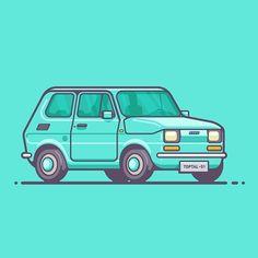 regram @dandragomir Digital Nomad's Car  #fiat #maluch #car #auto #vehicle #illustration #outline #graphicdesign #graphicdesigncentral #graphicroozane #illustree #illustrationoftheday #iconaday #arainspire #designarf #pirategraphic #design #drive #toptal by arno_bry