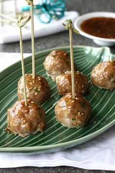 You can't eat just one!  Baked Teriyaki Turkey Meatball Recipe | cookincanuck.com #meatballs