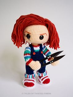 "Chucky Scary Doll - Free English Pattern PDF (click ""DOWNLOAD PATTERN"" in red letters at the end of the post) Also Spanish and Dutch Pattern"