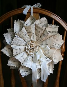 This art that makes me happy: Sheet Music wreath project, trim edges of paper with special scissors before rolling paper cones. Add some spray adhesive and glitter Sheet Music Crafts, Sheet Music Art, Music Paper, Music Sheets, Old Book Crafts, Book Page Crafts, Wreath Crafts, Diy Wreath, Paper Wreaths