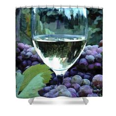 For wine lovers everywhere. These digital paintings and sketches feature still lives of wine bottles, glasses, bar items, grapes and wine cellars and... moreWine Shower Curtain featuring the painting White Wine Reflections by Elaine Plesser