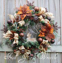 Copper Brown Rustic Deer Woodland Christmas Wreath, cabin, reindeer winter Large, sisal, pine cones