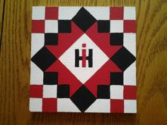 # 60 International harvester design - 2 Barn Quilt Designs, Barn Quilt Patterns, Quilting Designs, Fabric Panel Quilts, Painted Barn Quilts, Barn Signs, Barn Wood Projects, Craft Show Ideas, Square Quilt
