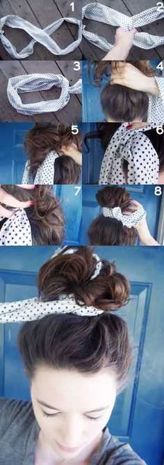 Tie your hair bun with a scarf. Normally I'm not a fan of high buns like this, but this is actually pretty!