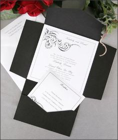 Wedding Invitation Idea. Different color and design, but I like the envelope format with the reply card tucked below.