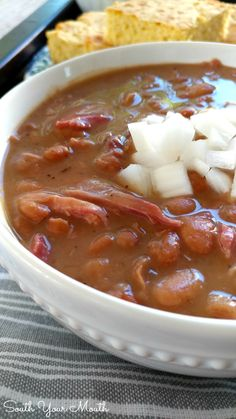 Slow Cooker Pinto Beans These beans cook up creamy and tender with a smoky silky sauce that s perfect with cornbread Recipe for crock pot and stove top preparation Beans In Crockpot, Slow Cooker Beans, Cooks Slow Cooker, Crock Pot Slow Cooker, Slow Cooker Recipes, Crockpot Recipes, Soup Recipes, Cooking Recipes, Beans Recipes