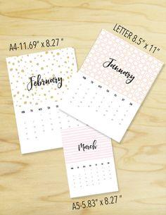 2017 Printable Wall Calendar 2017 Calendar by plannersbyB on Etsy