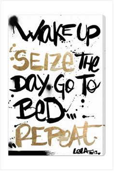 Wake up, seize the day. Go to bed...repeat!  I want to DIY this, looks easy enough!