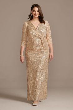 Turn heads in this light-catching sequin, plus-size sheath dress with a curve-hugging wrap front that cascades into a complimentary twist detail. By Alex Evenings Nyl Gold Plus Size Dresses, Bridesmaid Dresses Plus Size, Plus Size Gowns, Evening Dresses Plus Size, Beige Dresses, Mother Of The Bride Plus Size, Mother Of The Bride Dresses Long, Dresses To Wear To A Wedding, Grooms Mother Dresses