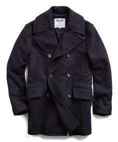 Manchester Wool Pea Coat in Navy