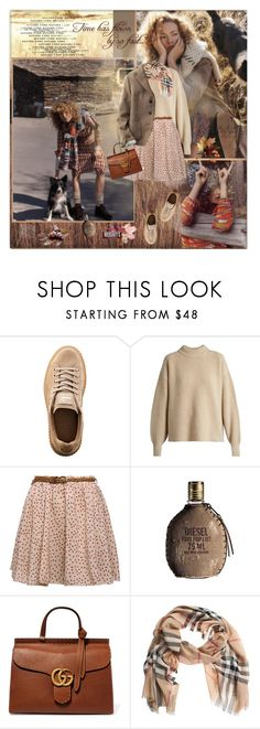 """""""Float down like autumn leaves"""" by olivochka ❤ liked on Polyvore featuring Puma, The Row, Diesel, Gucci, Burberry, Uniqlo and Hershey's"""