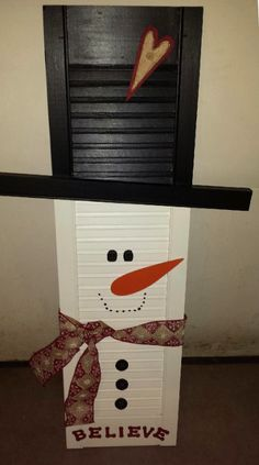 Shutter Snowman - A sneak peak at what you'll find at our Christmas in the Country Open House - November Christmas Signs, Country Christmas, Christmas Snowman, Rustic Christmas, Christmas Decorations, Christmas Ornaments, Primitive Christmas, Christmas Trees, Snowman Crafts