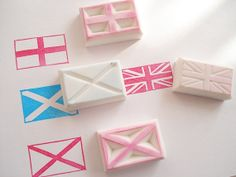 Party flag UK flags4 stamps set with a Box by JapaneseRubberStamps, £10.00