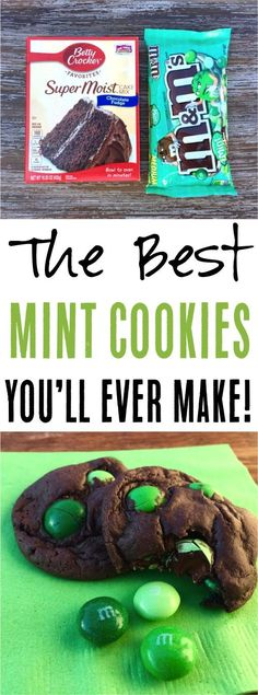 This easy cake mix cookies recipe is the ulti… Easy Dark Chocolate Mint Cookies! This easy cake mix cookies recipe is the ultimate dessert for any occasion! M&m Cookie Recipe, Cake Mix Cookie Recipes, Cookie Desserts, Cake Mixes, Dessert Recipes, Xmas Desserts, Sweet Desserts, Christmas Recipes, Yummy Recipes