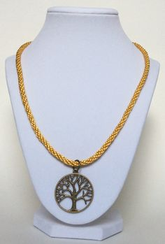 Antique Brass Tree - Of - Life Kumihimo Necklace In Gold, Braided Necklace, Rope Necklace, Tree Of Life Necklace, Vintage, Hippy, Vegan by CreationsByLacieK on Etsy