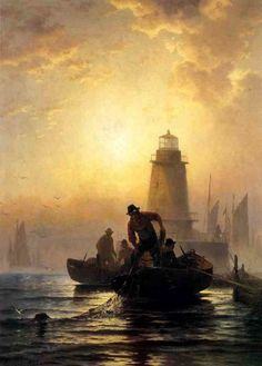 Edward Moran (1829-1901) - Fish Pond, Orient Bay, Long Island