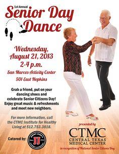 Celebrate #SeniorCitizens Day at #CTMC's free Senior Day Dance Aug. 21 #SMTX