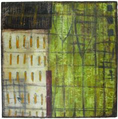 Jennifer Solon Starting the Journey: Mixed media collage (textiles, encaustic wax, pigments)
