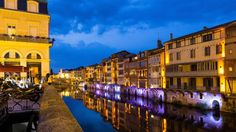 Castres, on the River Tarn, Midi-Pyrénées, is transformed into a fairyland of light at dusk. Photo credits: Bruno MAZODIER