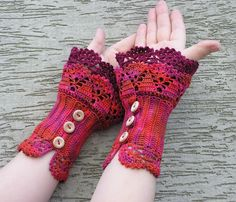 FREE SHIPPING Forest Berries - multicolored crocheted layered wrist warmers cuffs. $30.00, via Etsy.