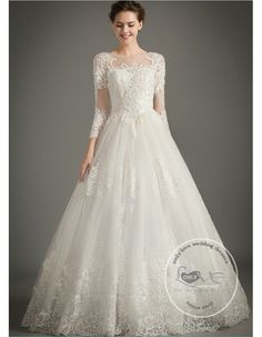 Gorgeous round neckline full long sleeves lace appliques pearls crystals beaded accent floor length A-line wedding dresses 2018 - Affordable Bridal Wedding Dresses Collection Pretty Wedding Dresses, Modest Wedding Dresses, Perfect Wedding Dress, Bridal Dresses, Wedding Gowns, Bridesmaid Skirt And Top, Prom Dress Couture, Mother Of The Bride Dresses Long, Designer Party Wear Dresses